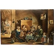 Dutch 17th Century Painting Wood Panel David Teniers Interior Scene