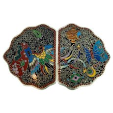 Chinese metal cloisonne belt buckle