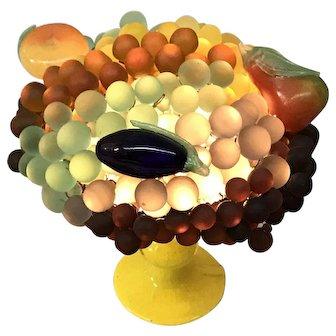 Vintage Czech  Glass Fruit Table  Lamp