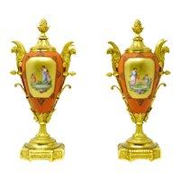 Antique bronze ormolu mounted Russian porcelain urns