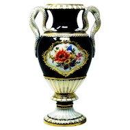 Meissen porcelain snake handled vase