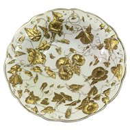 Meissen porcelain plate with gold gilt leaves and flowers