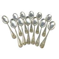 Black Starr & Frost 12 sterling silver tea spoons