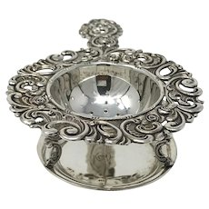 Antique Victorian silver tea strainer