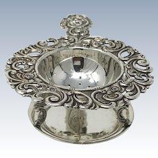 Antique Victorian silver tea strainer