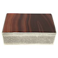 Antique trinket box silver agate design