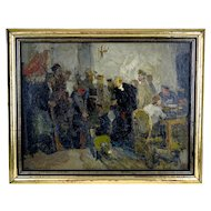 Russian Piotr Goriounov signed Lenin oil painting 21 1/4 inches x 26 1/2 inches