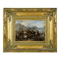 Italian Oil Painting 1643-1699 Battle Scene Studio of Pandolfo Reschi