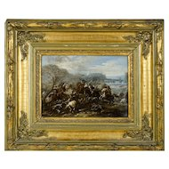 Italian Oil Painting 1643-1699 Battle Scene Studio of Pandolfo Reschi
