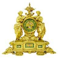 Scottish James Muirhead Glasgow Ormolu Bronze Mantel Clock