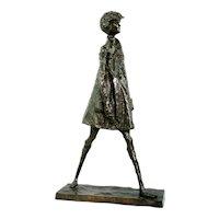 Alice Winant 1929-1989 Child Walking Bronze Sculpture