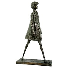 Alice Winant 1929-1989 Child Walking Bronze Sculpture