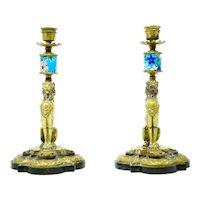 Bronze 19th century Lion Design Candlesticks