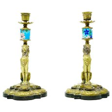 Bronze 19th century Lion Design Candlesticks