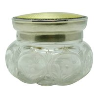 Birmingham 1925 Sterling Silver Niello & Guilloche enamel cut crystal jar