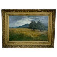 Antique Gilt Frame Landscape Painting Signed Brown 1886