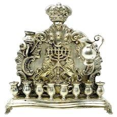Polish Silver Plated Hannukah Lamp by B. Henneberg Warszawa