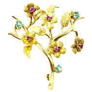18 karat Solid Yellow Gold Brooch with Genuine Ruby & Aquamarine Stones