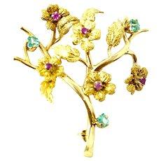 18 karat Solid Yellow Gold Brooch with Genuine Ruby & Aquamarine Stones
