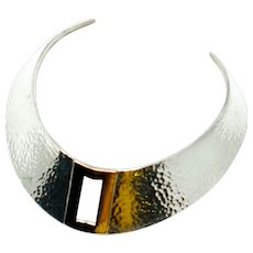 Modernist Sterling Silver and 14k Gold Signed Necklace