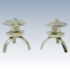 Japanese Sterling Silver Pagoda Salt and Pepper Shakers