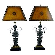 Pair of Maitland-Smith Bronze and Rough Iron Table Lamps