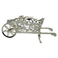 William Comyngs London 1908 Antique Silver Wheel Barrow