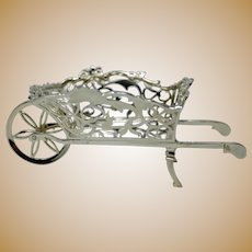 William Comyngs London 1908 Antique Silver Wheel Barrow