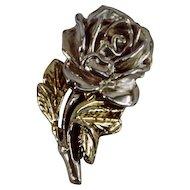 Large Vintage Sterling Silver .925 Rose Brooch