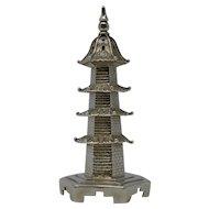 Chinese Export Silver Pagoda Salt Shaker by Wang Hing