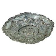 Antique Continental Silver Repousse Bowl