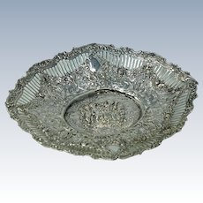 Antique Continental Silver Repousse Bowl