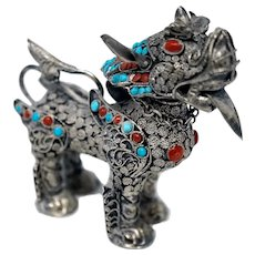 Sterling Silver Foo Dog Snuff Bottle