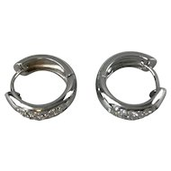 Solid 14 karat White Gold Pair of Earrings with 36 s/c Genuine Diamonds