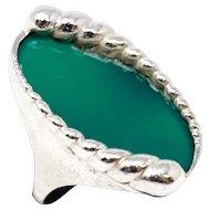 Mid Century Modernist Green Gemstone Ring