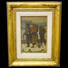 Emile Troncy Painting Peasants Winter Scene