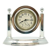 Antique Waltham Sterling Silver Desk Clock
