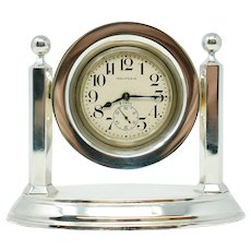 Antique Waltham Sterling Silver Desk Clock