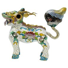 Chinese Cloisonne Enamel Foo Dog