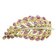 Solid 18 karat Yellow Diamonds & Ruby Brooch w/ Certificate