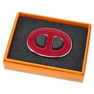 Hermes Paris Red Enamel Scarf Ring