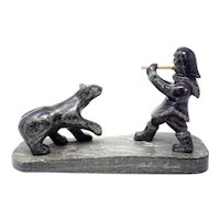 Inuit Eskimo Soapstone Statue Hunter & Bear