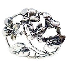 Sterling Silver Art Nouveau Brooch