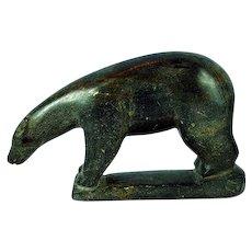 Inuit Eskimo Soapstone David Issigaitok 1936- Bear Carving