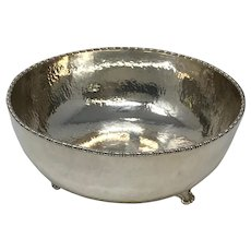 Arts and Crafts Hammered Silvered Bowl