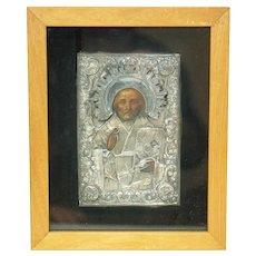Antique 1860 Russian Imperial Icon of St Nicolas