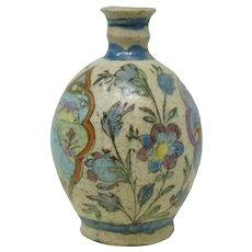 Qajar Pottery Figurative & Floral Vase