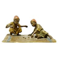 Austrian Orientalist Bronze Statue of Children Playing Dice