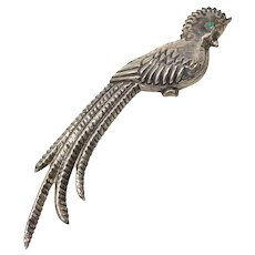 Mexico Silver Bird of Paradise Brooch