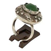 Vintage Polish Silver Jade Ring